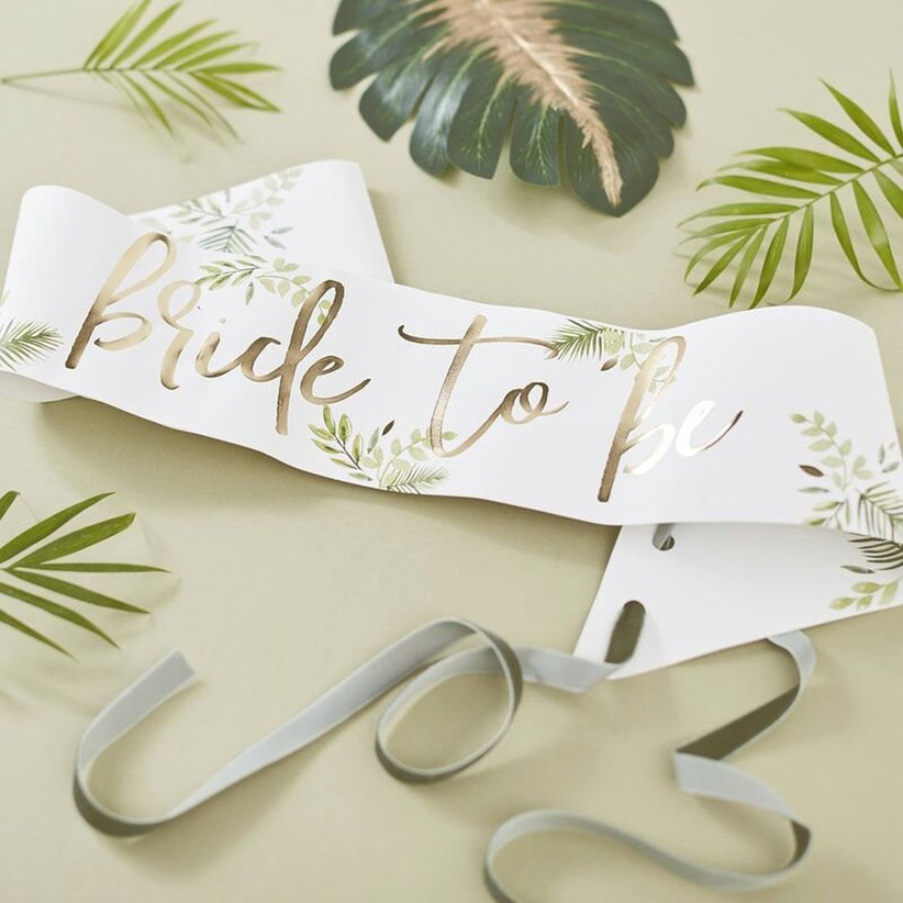 Tropical motif Bride to Be bridal shower banner white and gold