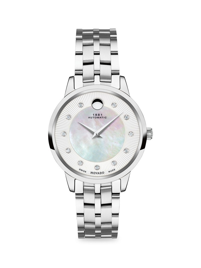 Stainless steel women's engagement watch with mother-of-pearl dial and diamonds marking the hours