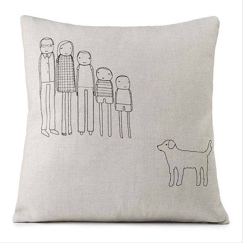 personalized pillow decorated with family and dog