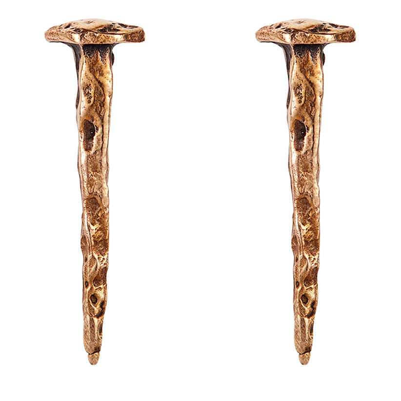Unique bronze nail-themed earrings 19th anniversary gift