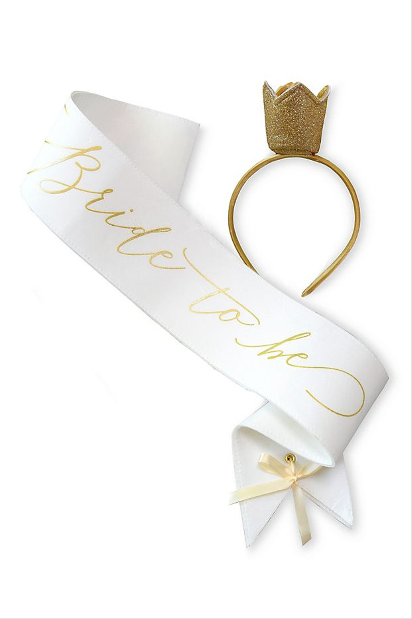 bride-to-be bachelorette party sash with matching tiara