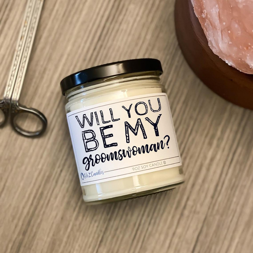 Will You Be My Groomswoman proposal candle