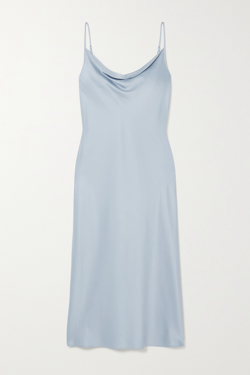 pale blue bridesmaid dress with spaghetti straps and cowl neckline
