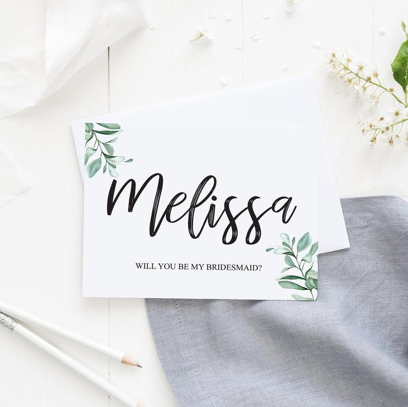 Bridesmaid proposal card for bridesmaid box