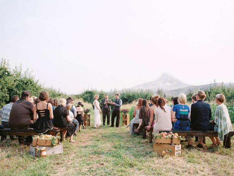outdoor wedding venue in oregon at an orchard with mountain views in the background