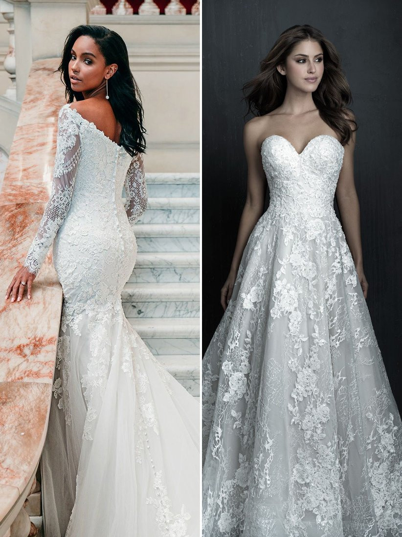 Allure Bridals off-the-shoulder lace long sleeve wedding dress and sweetheart neckline A-line wedding dress