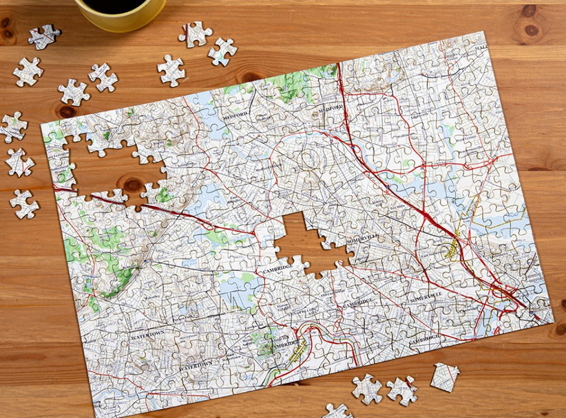 Hometown map puzzle father of the groom gift