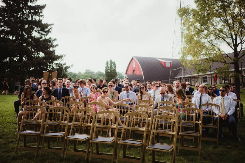 wedding guests waiting for ceremony to begin