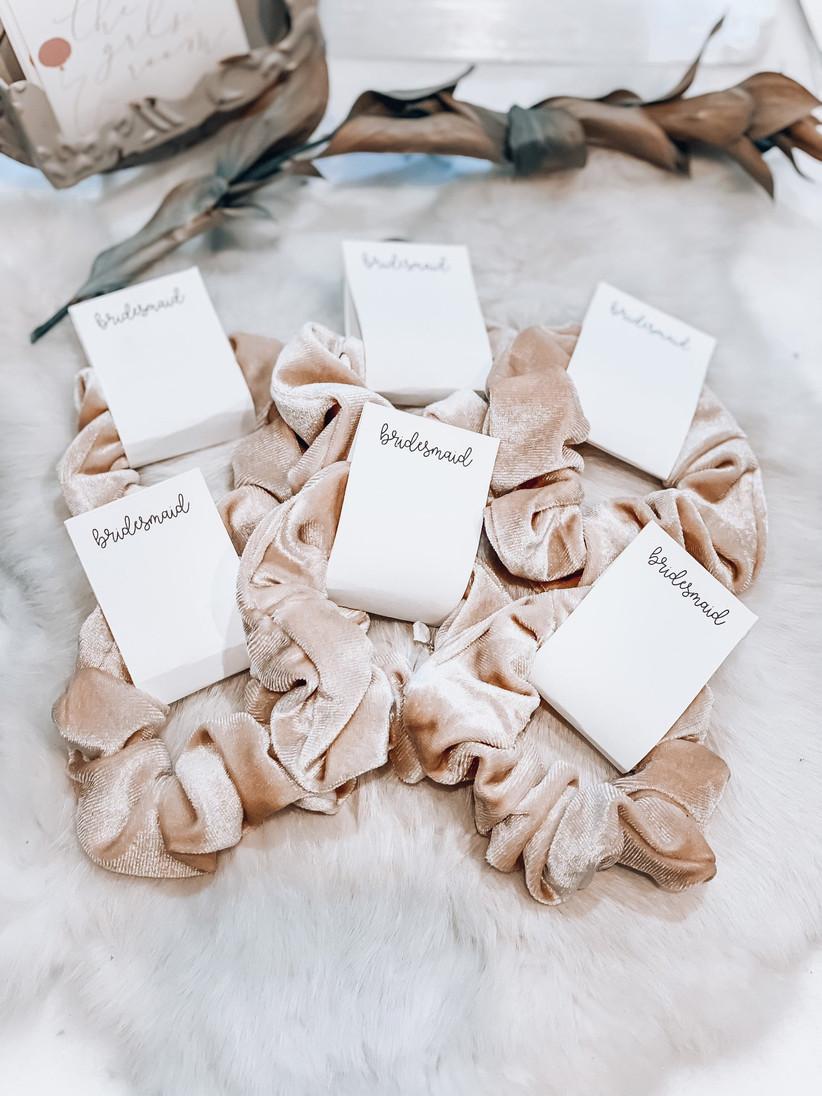 Bridesmaid scrunchies gift idea