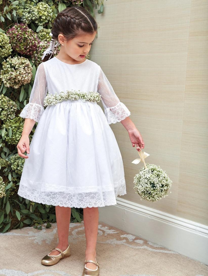 flare sleeve white flower girl dress