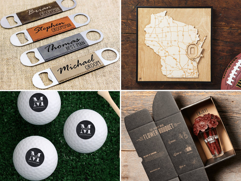 Collage of four groomsmen gift ideas including bottle openers, stadium map, golf balls, meat bouquet