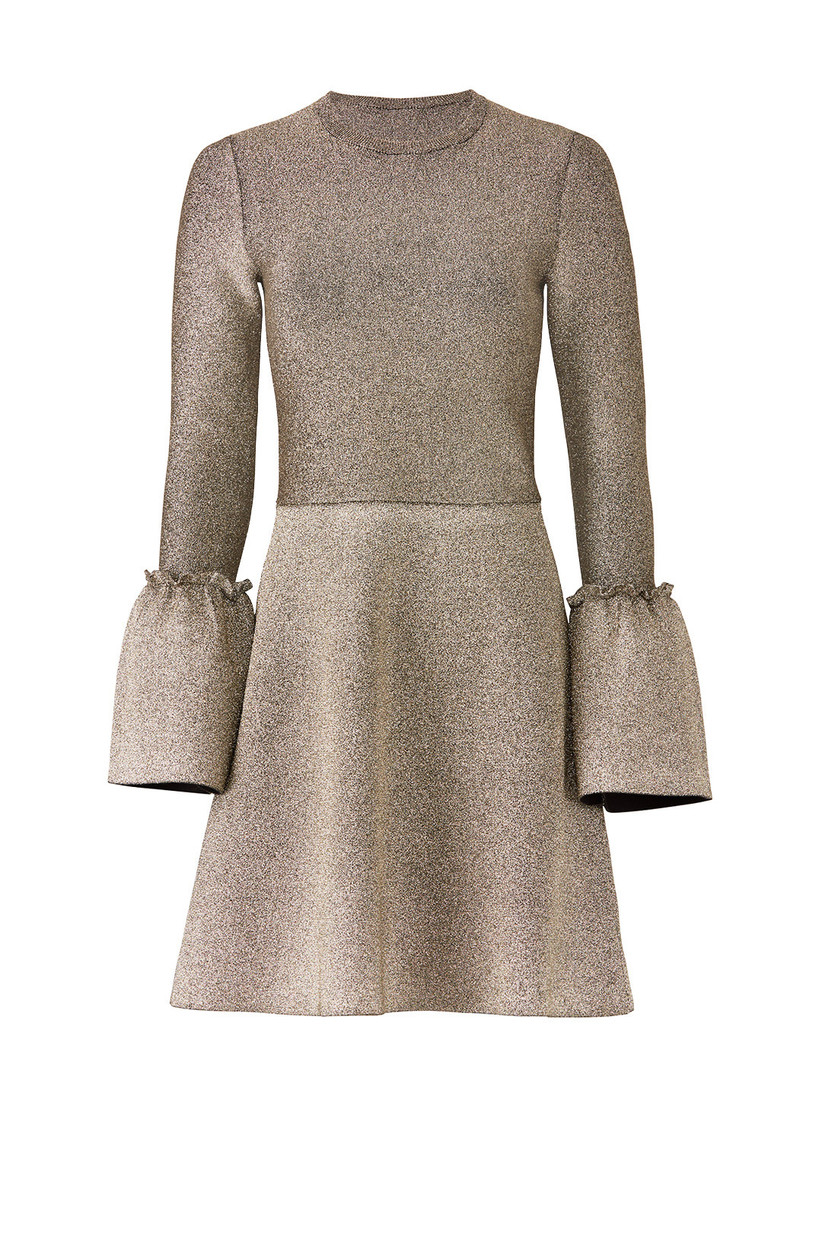 short gold engagement party dress with long sleeves and bell cuffs