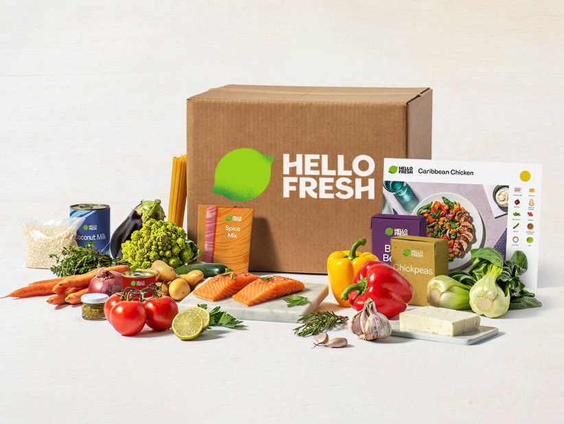 Hello Fresh box surrounded by fresh ingredients food gift idea for couple
