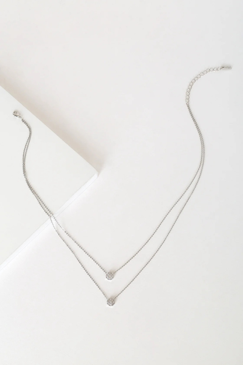 Minimalist double-layered silver and crystal pendant necklace