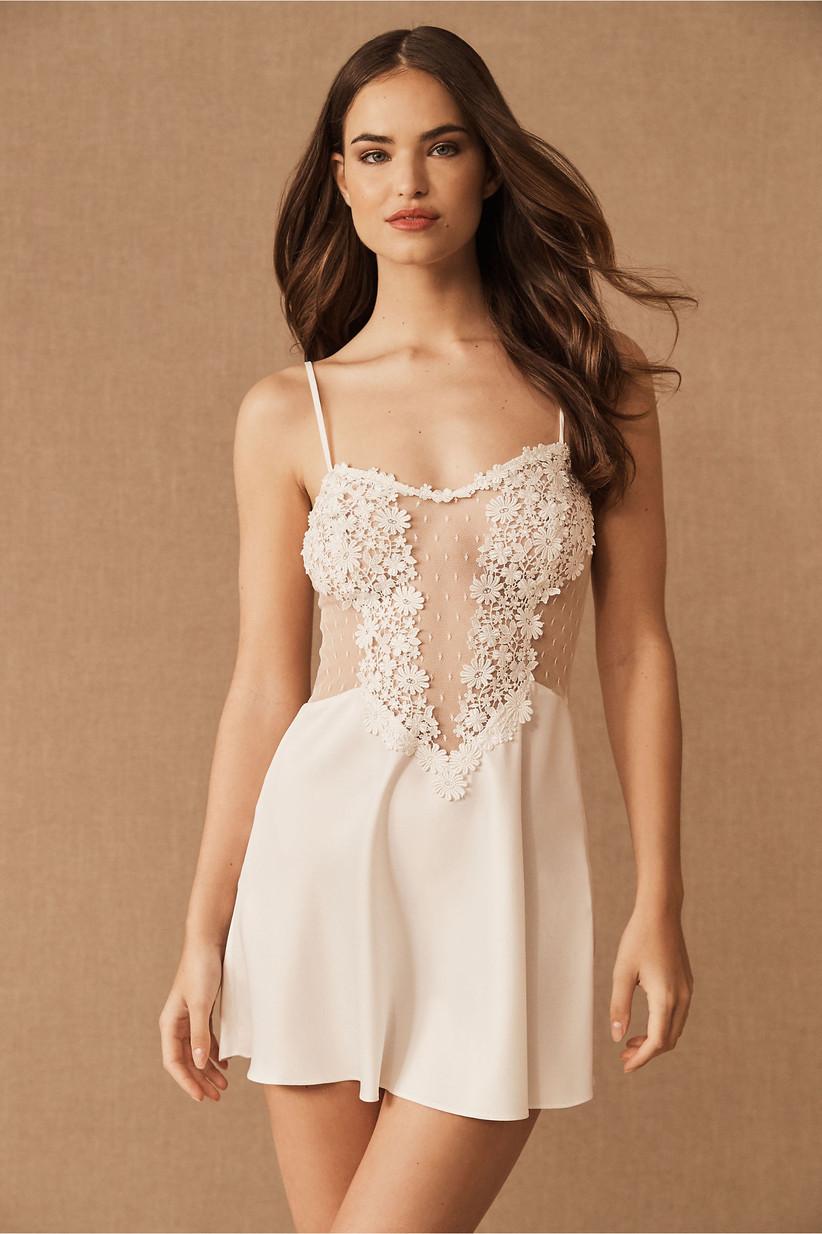 Floral appliqué chemise wedding night lingerie