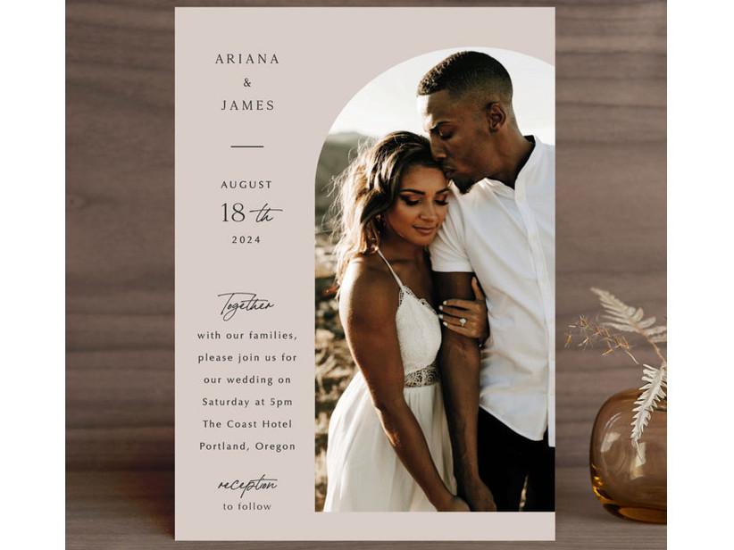 Modern photo wedding invitation inexpensive