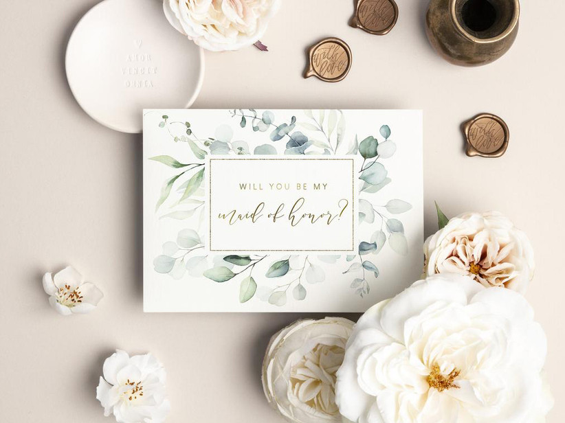 Elegant Will You Be My Maid of Honor proposal card