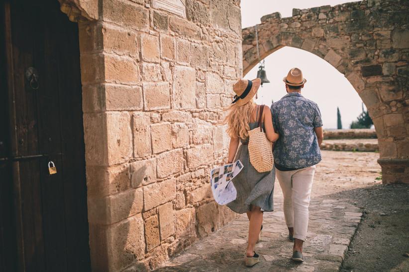couple walking in europe