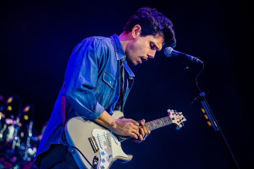 john mayer playing PRS silver sky guitar on stage during 2019 world tour