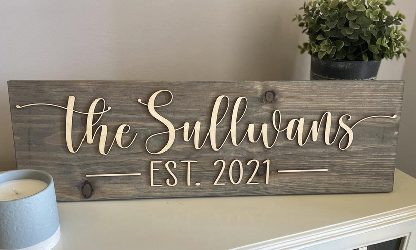 Rustic elegant family name sign with established date