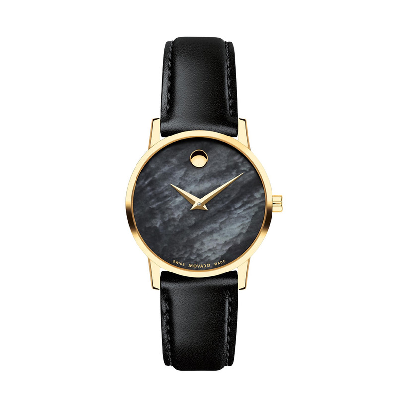 movado black and gold watch for 12th year wedding anniversary gift