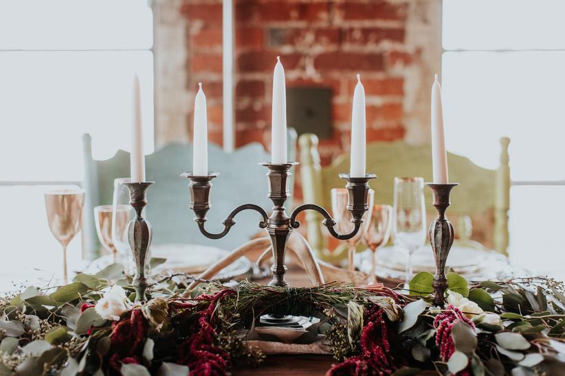 gothic wedding centerpiece with candelabra