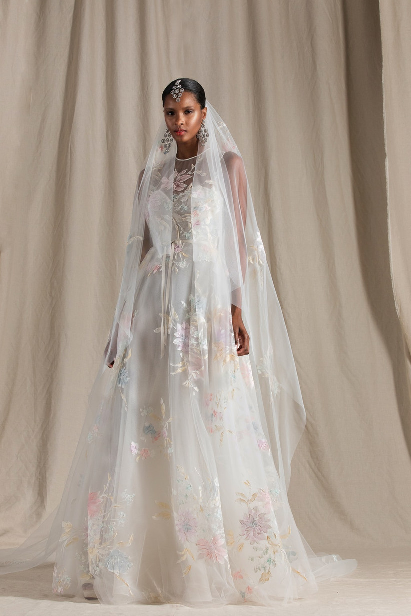 tulle A-line wedding dress decorated with hand-painted flowers in pastel colors