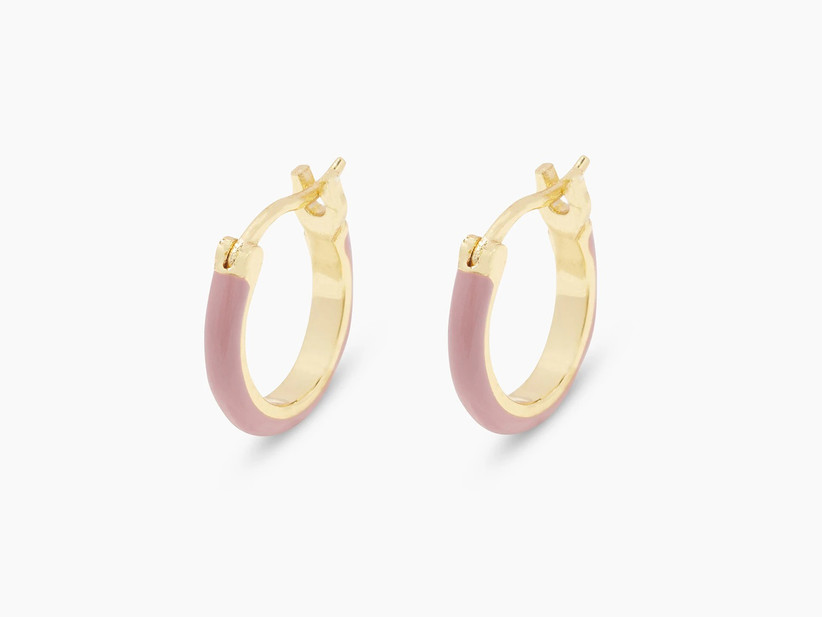 Blush pink and gold huggie hoop bridesmaid earrings