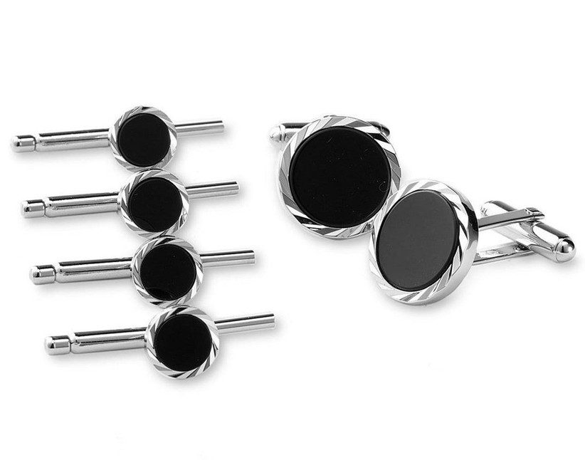 Wedding cuff link and stud set with diamond-cut silver settings and black onyx inlays