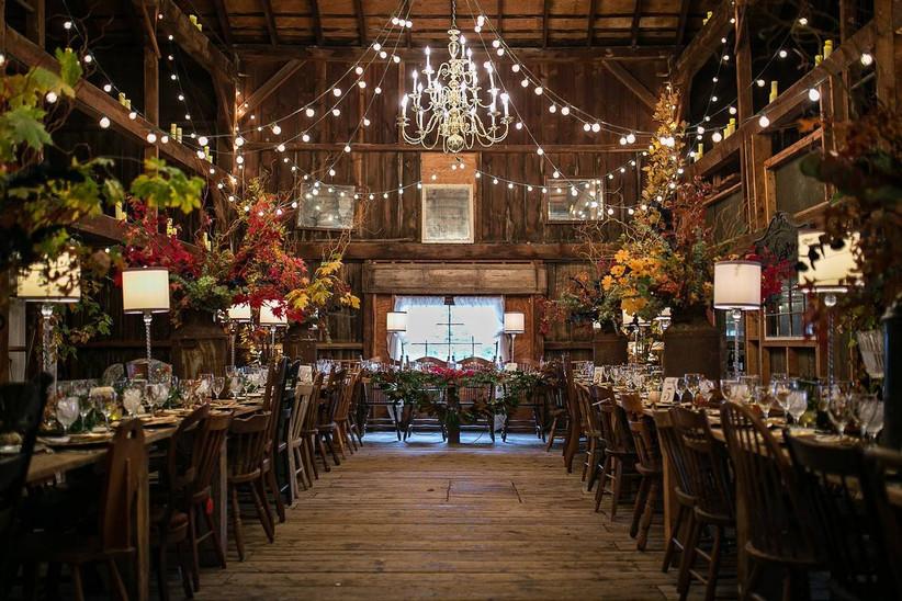 indoor barn wedding reception