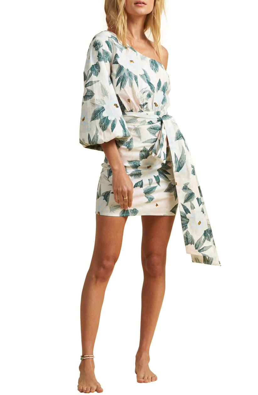 short one-shoulder engagement party dress with puff sleeve and allover tropical floral print