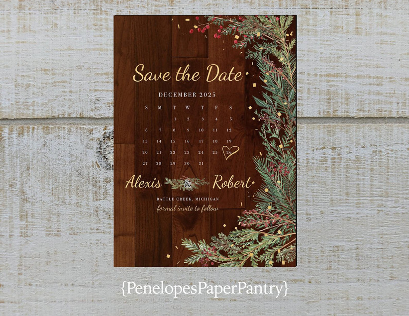 rustic winter save the dates