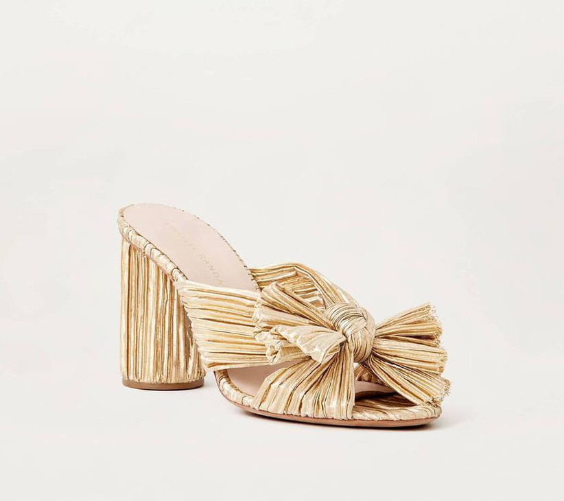pleated metallic gold high heel with block heel and bow strap