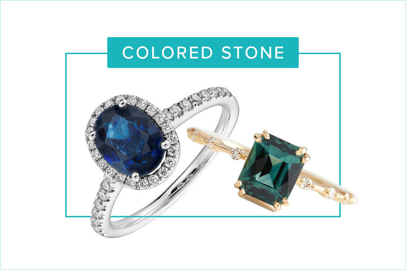blue stone and green stone engagement rings