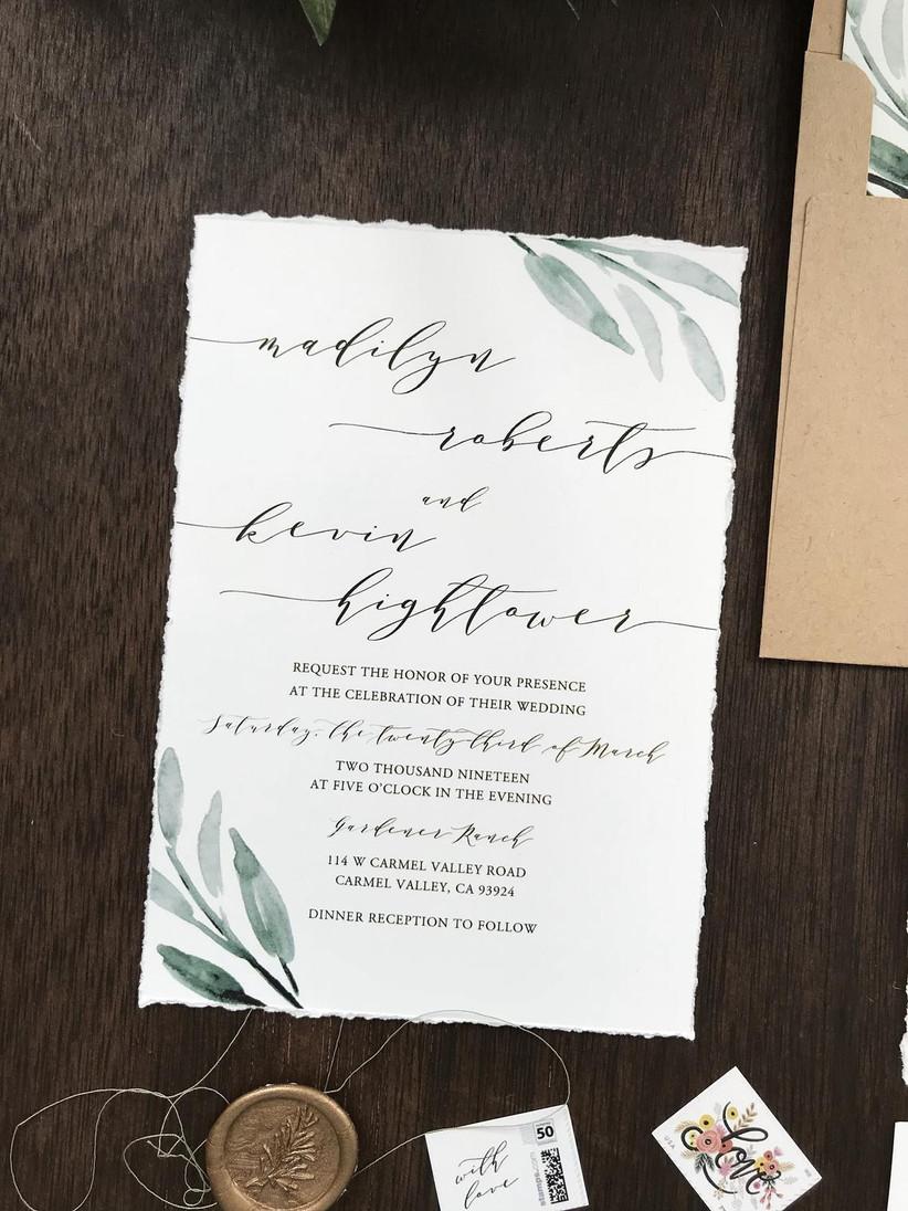 greenery winter wedding invitations
