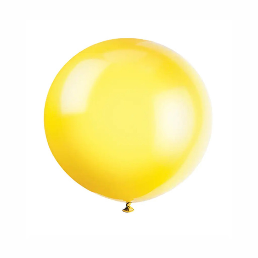 Large lemon yellow latex balloon on white background