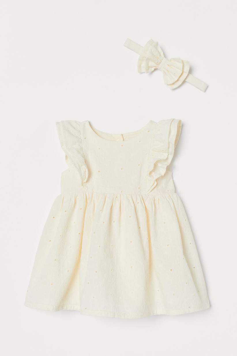 white baby dress HM