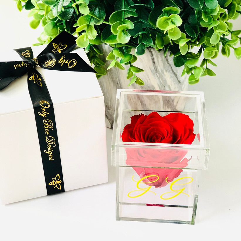 Red eternity rose in see-through box 16th anniversary gift idea