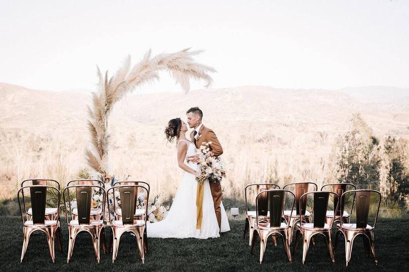 boho wedding arch with pampas grass