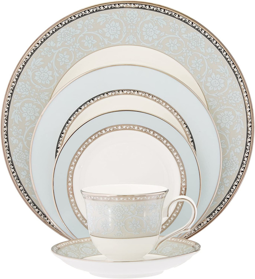 lenox westmore 5 piece place setting blue and gold china set