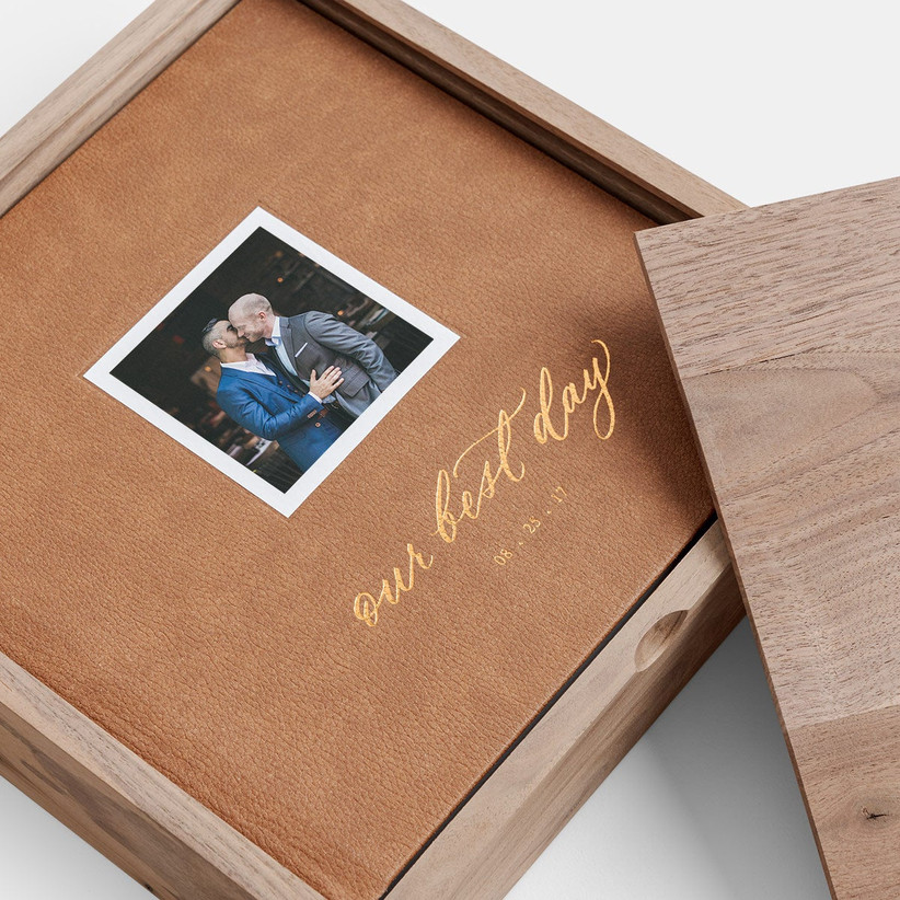 Brown leather cover wedding photo book with small photo and Our Best Day written in gold foil