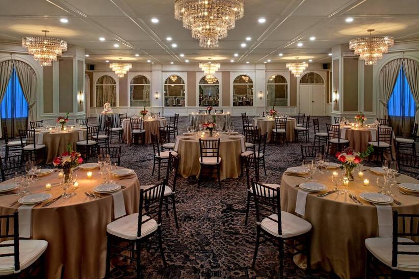 wedding setup in hotel ballroom