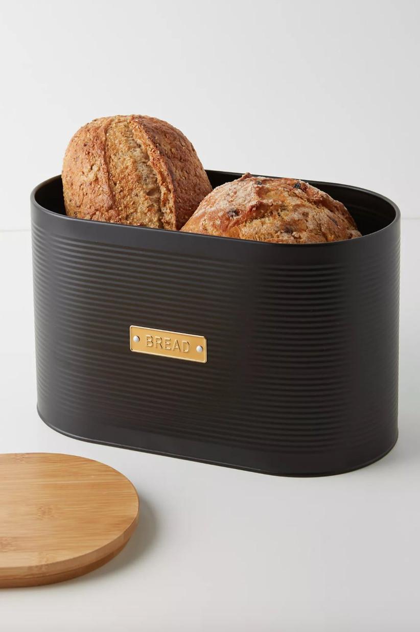 Chic black and gold bread bin