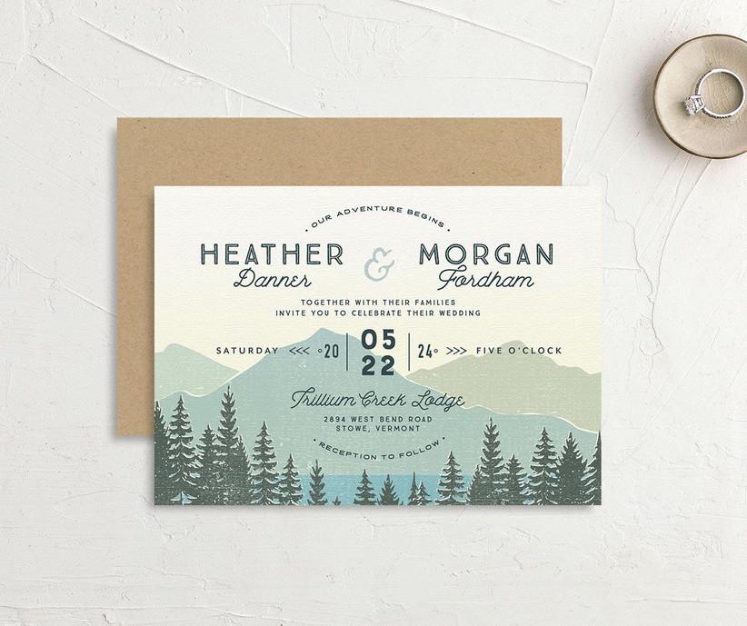 Rustic mountain and lake scene affordable wedding invitation