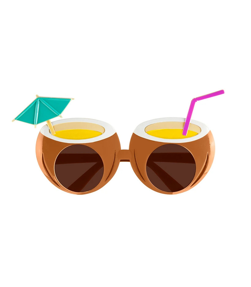 coconut-shaped sunglasses with faux paper umbrella and straw