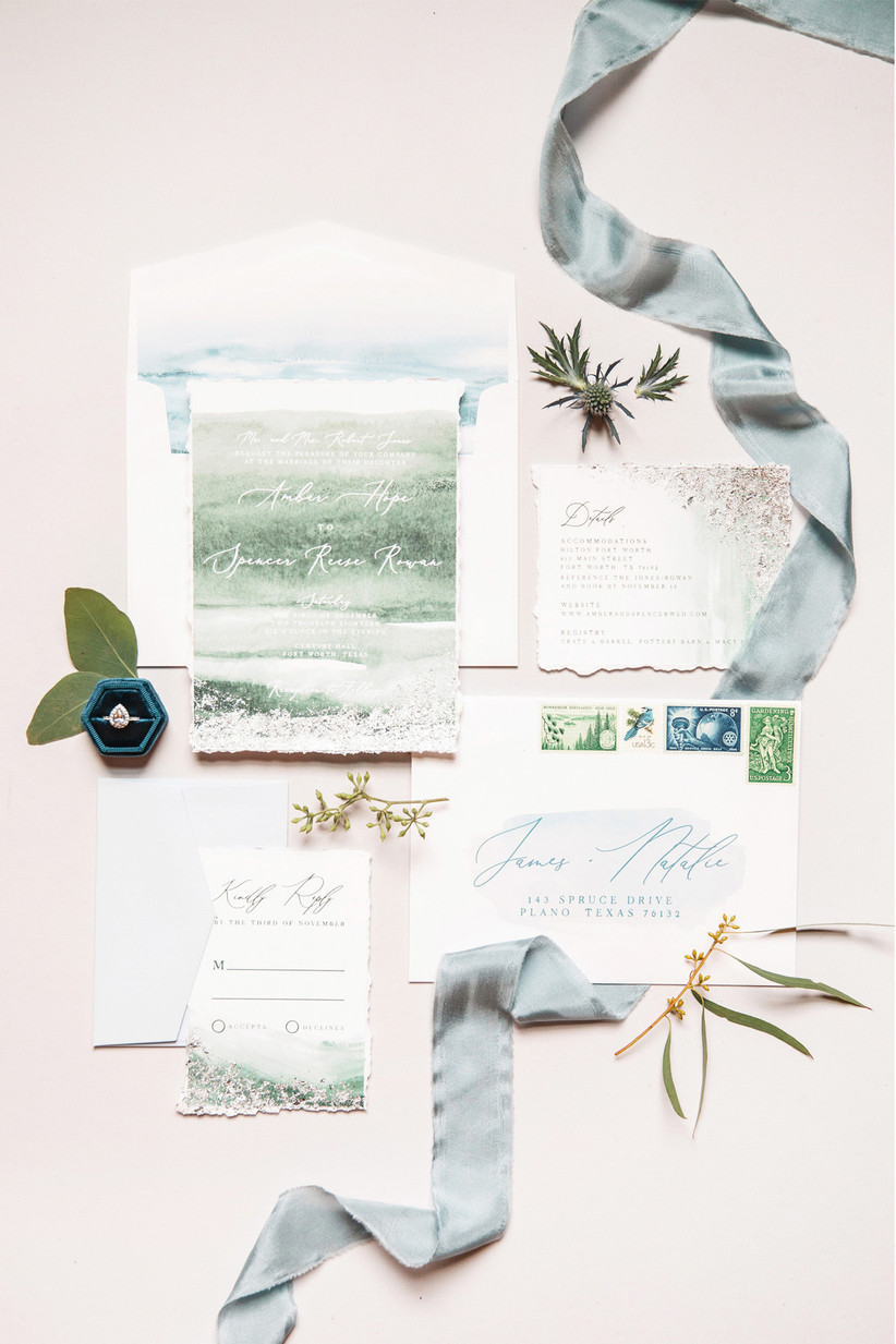 watercolor wedding invitation suite with blue and green design