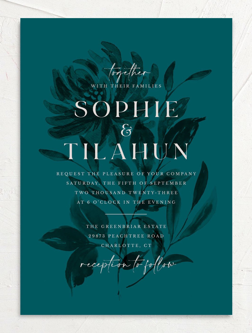 elegant fall wedding invitation dark teal card with black flower silhouette and white text overlay