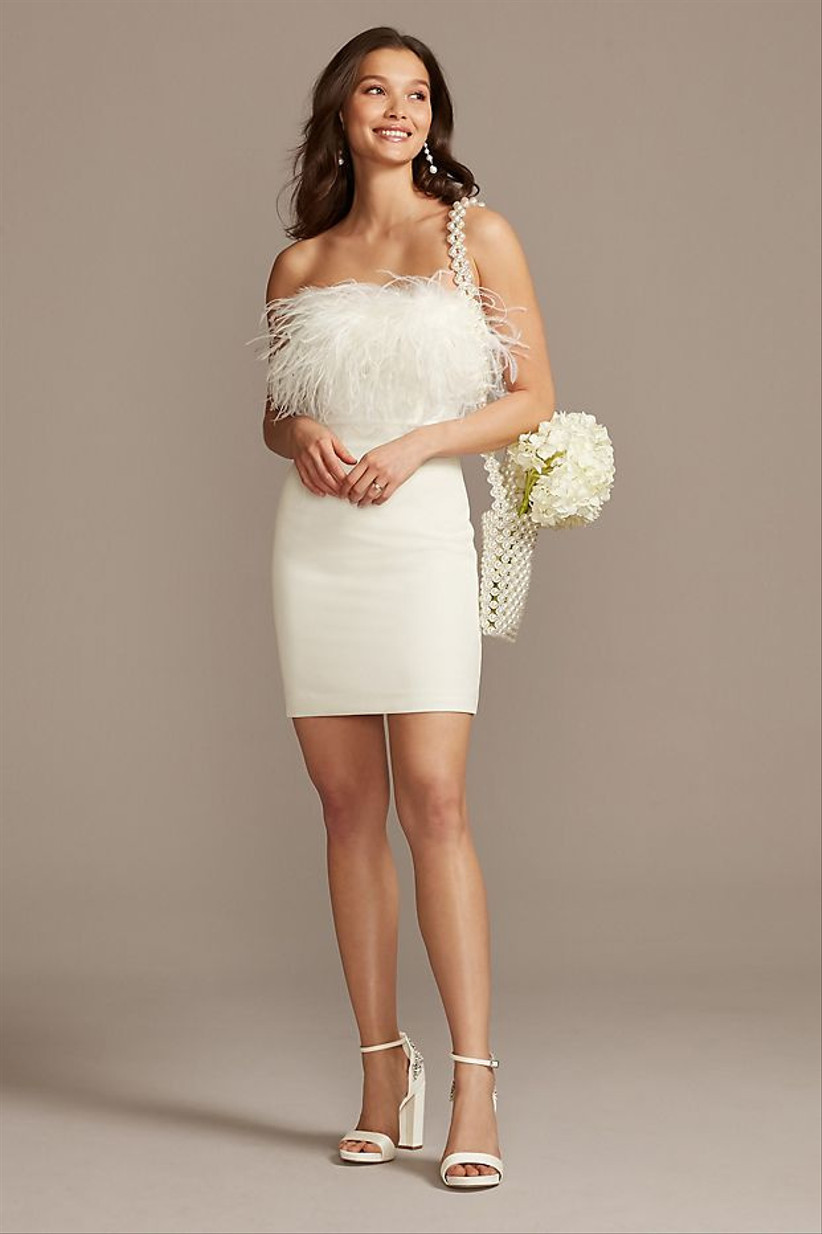 short white bachelorette party dress strapless neckline with feathers