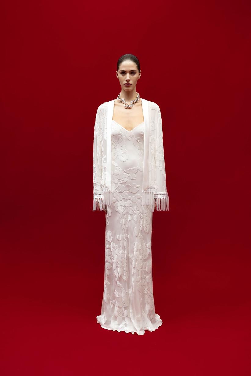 wedding dress with matching fringe jacket