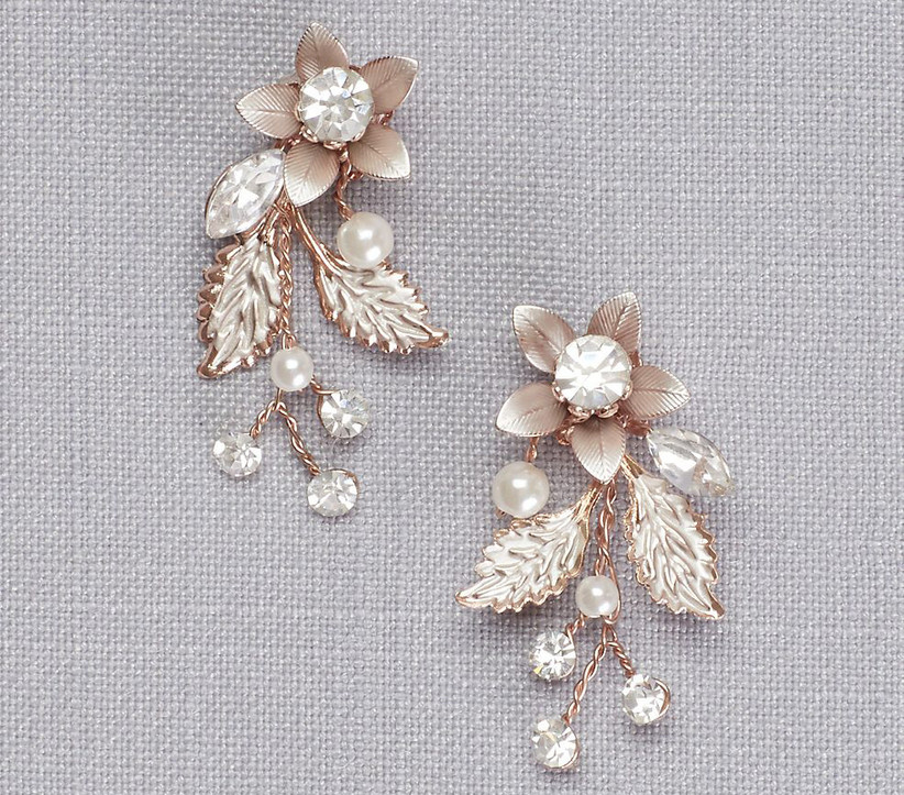 Metallic floral drop bridesmaid earrings with crystals and pearls